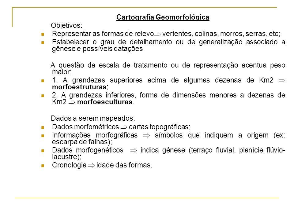 Cartografia Geomorfológica Objetivos: Representar as formas de relevo vertentes, colinas, morros, serras, etc; Estabelecer o grau de detalhamento ou d