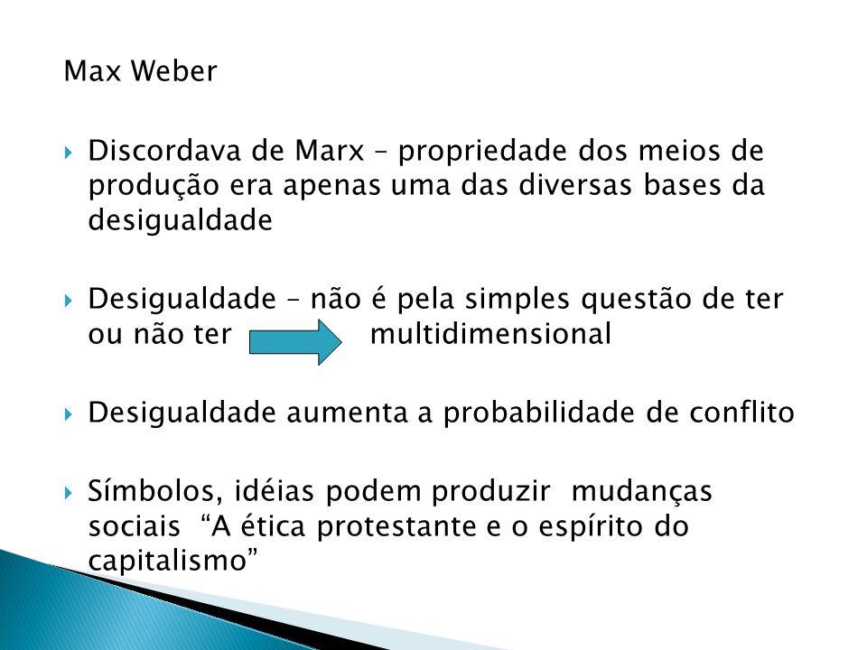 Max Weber Discordava de Marx – propriedade dos meios de produção era apenas uma das diversas bases da desigualdade Desigualdade – não é pela simples q