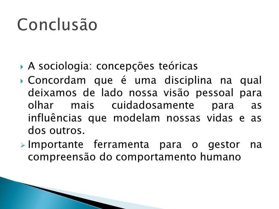 A sociologia: concepções teóricas Concordam que é uma disciplina na qual deixamos de lado nossa visão pessoal para olhar mais cuidadosamente para as i