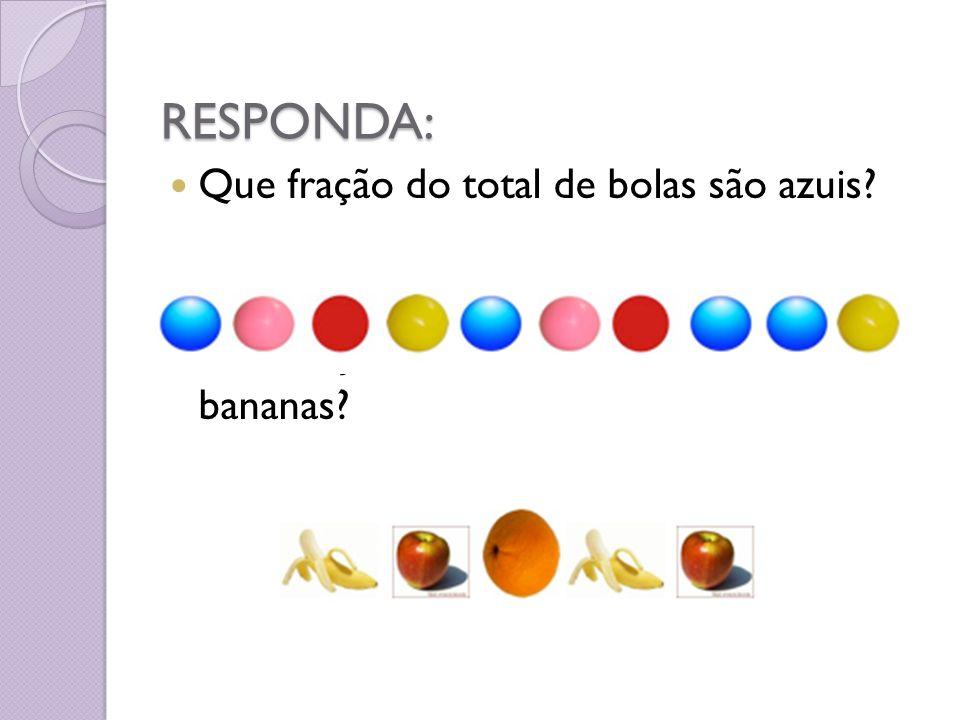RESPONDA: Que fração do total de bolas são azuis? Que fração do total de frutas são bananas?