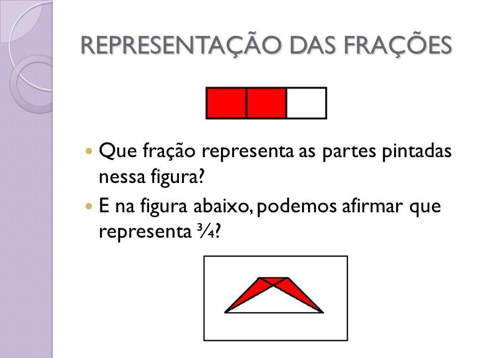 REPRESENTAÇÃO DAS FRAÇÕES Que fração representa as partes pintadas nessa figura? E na figura abaixo, podemos afirmar que representa ¾?