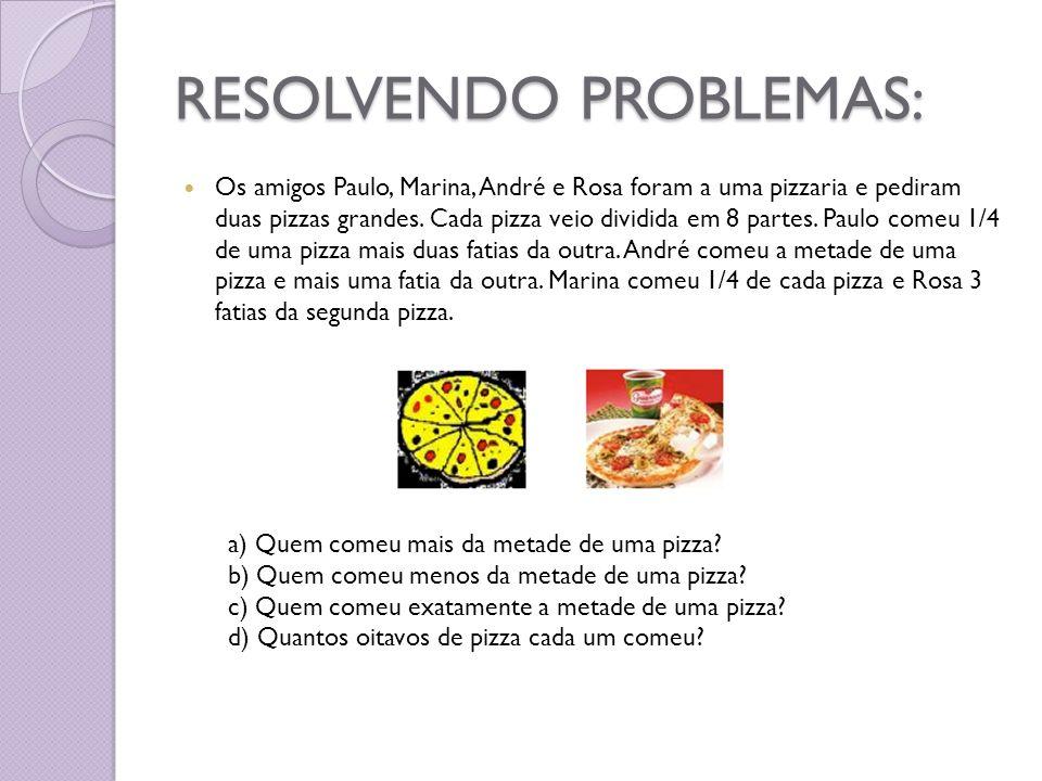 RESOLVENDO PROBLEMAS: Os amigos Paulo, Marina, André e Rosa foram a uma pizzaria e pediram duas pizzas grandes. Cada pizza veio dividida em 8 partes.