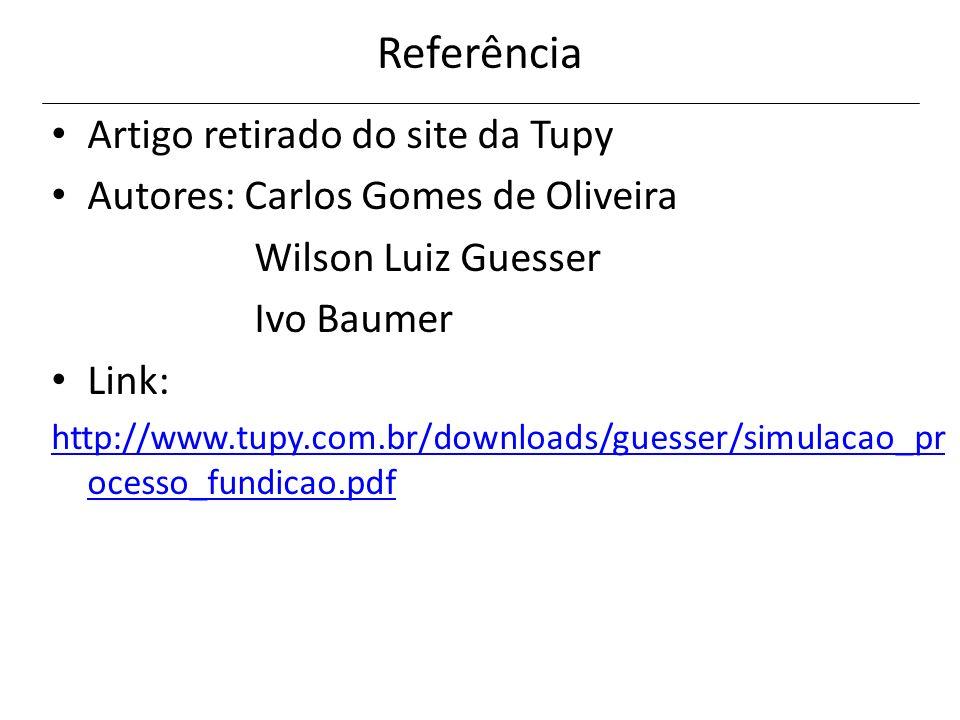 Referência Artigo retirado do site da Tupy Autores: Carlos Gomes de Oliveira Wilson Luiz Guesser Ivo Baumer Link: http://www.tupy.com.br/downloads/gue