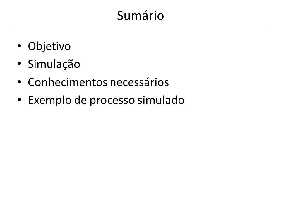 Sumário Objetivo Simulação Conhecimentos necessários Exemplo de processo simulado