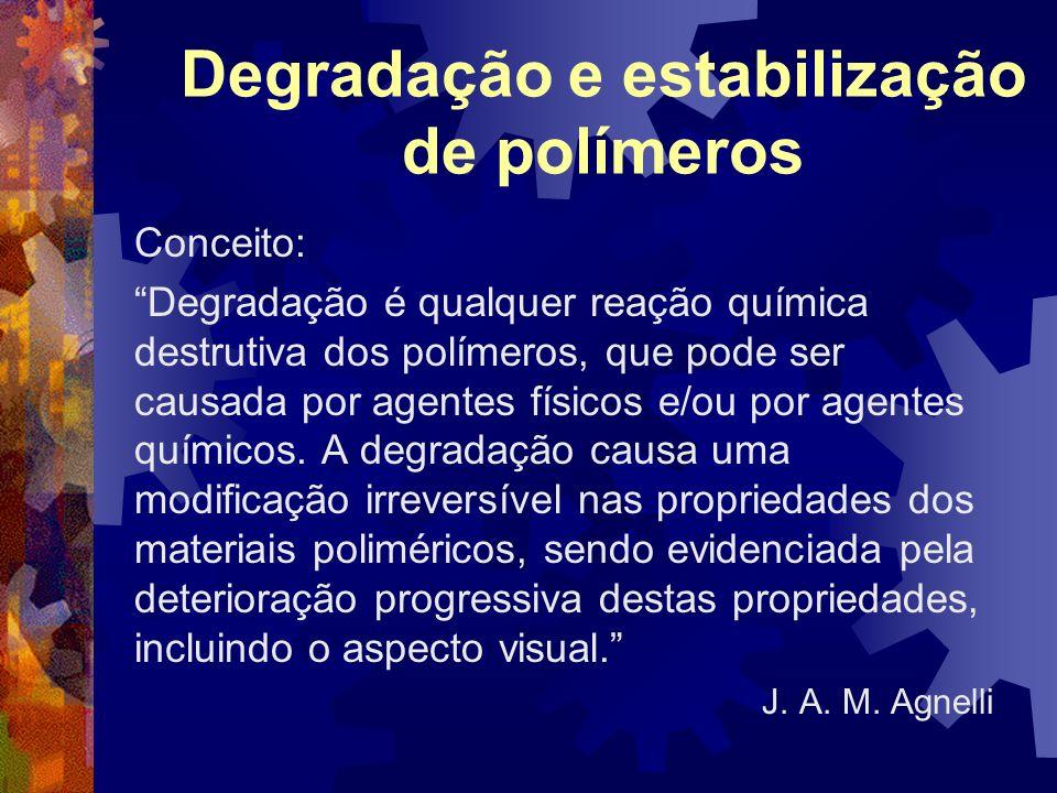 Degradação e estabilização de polímeros Conceito: Degradação é qualquer reação química destrutiva dos polímeros, que pode ser causada por agentes físi
