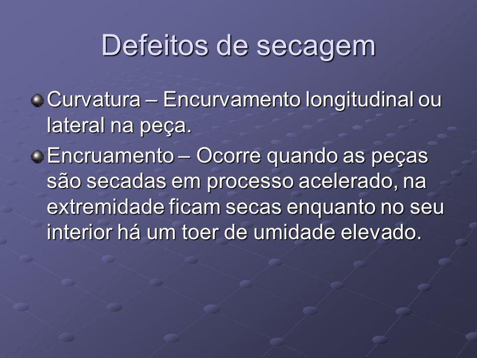Defeitos de secagem Curvatura – Encurvamento longitudinal ou lateral na peça. Encruamento – Ocorre quando as peças são secadas em processo acelerado,