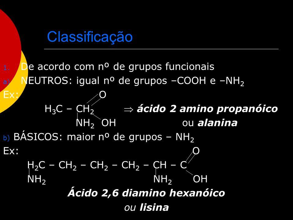 Classificação c) ÁCIDOS: maior nº de grupos – COOH Ex: O O C – CH 2 – CH – C ácido 2 amino buta- OH NH 2 OH dióico ou ácido aspár- tico 2.