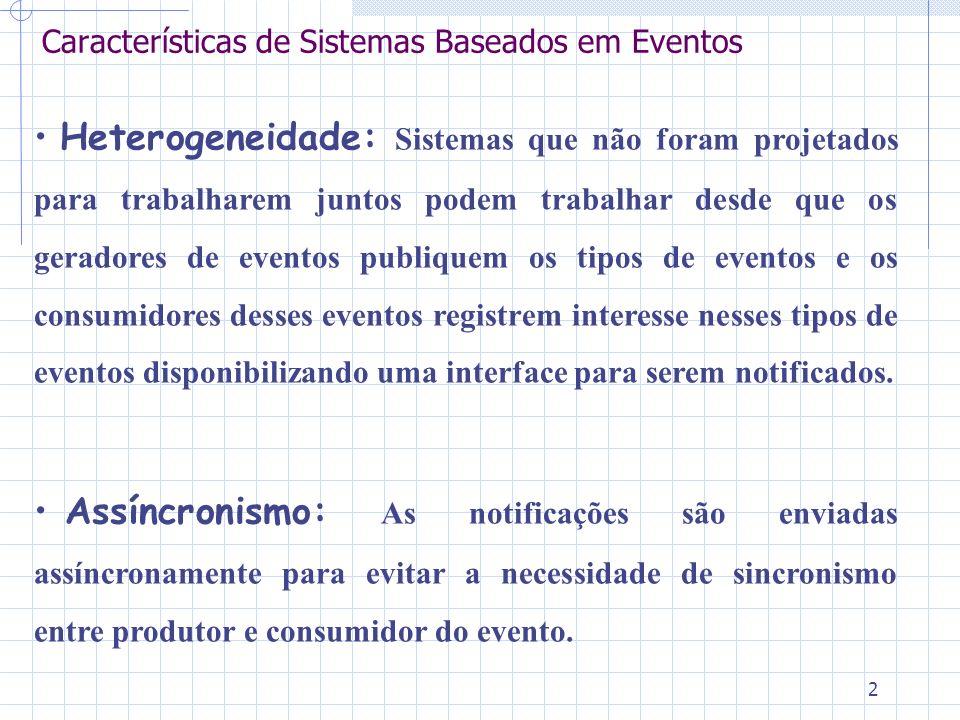 2 Características de Sistemas Baseados em Eventos Heterogeneidade: Sistemas que não foram projetados para trabalharem juntos podem trabalhar desde que os geradores de eventos publiquem os tipos de eventos e os consumidores desses eventos registrem interesse nesses tipos de eventos disponibilizando uma interface para serem notificados.