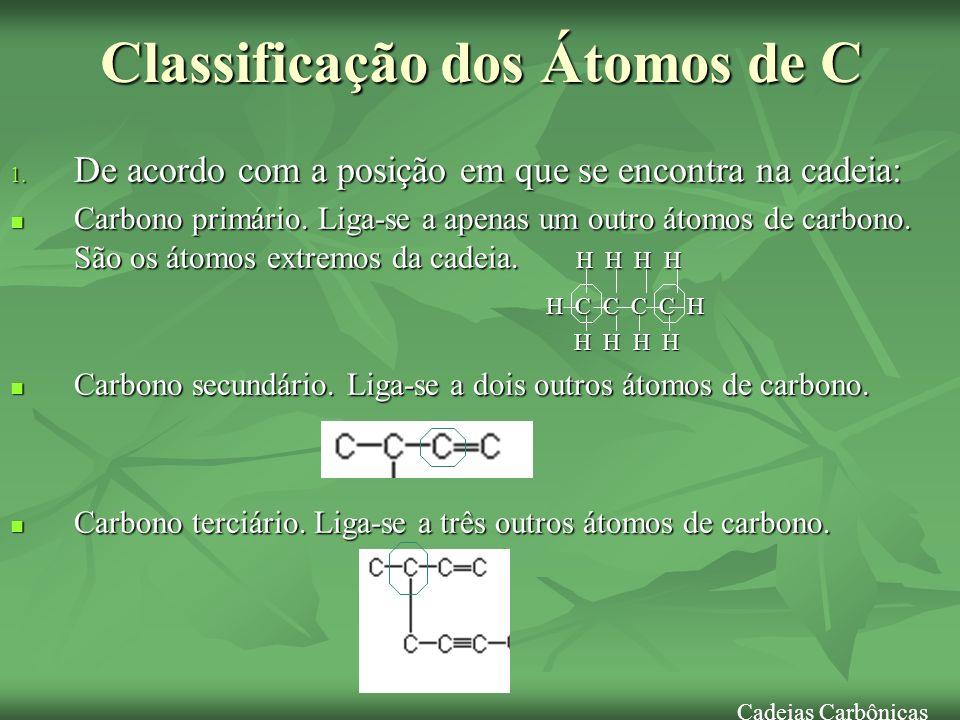Classificação dos Átomos de C 1. De acordo com a posição em que se encontra na cadeia: Carbono primário. Liga-se a apenas um outro átomos de carbono.