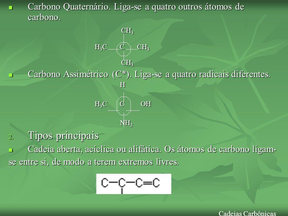 Carbono Quaternário. Liga-se a quatro outros átomos de carbono. Carbono Quaternário. Liga-se a quatro outros átomos de carbono. CH 3 CH 3 H 3 C C CH 3