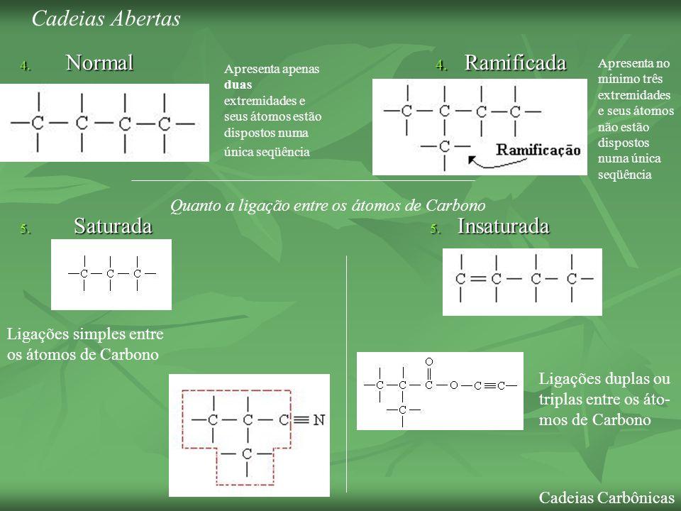4. Normal 4. Ramificada 5. Saturada 5. Insaturada Ligações simples entre os átomos de Carbono Ligações duplas ou triplas entre os áto- mos de Carbono