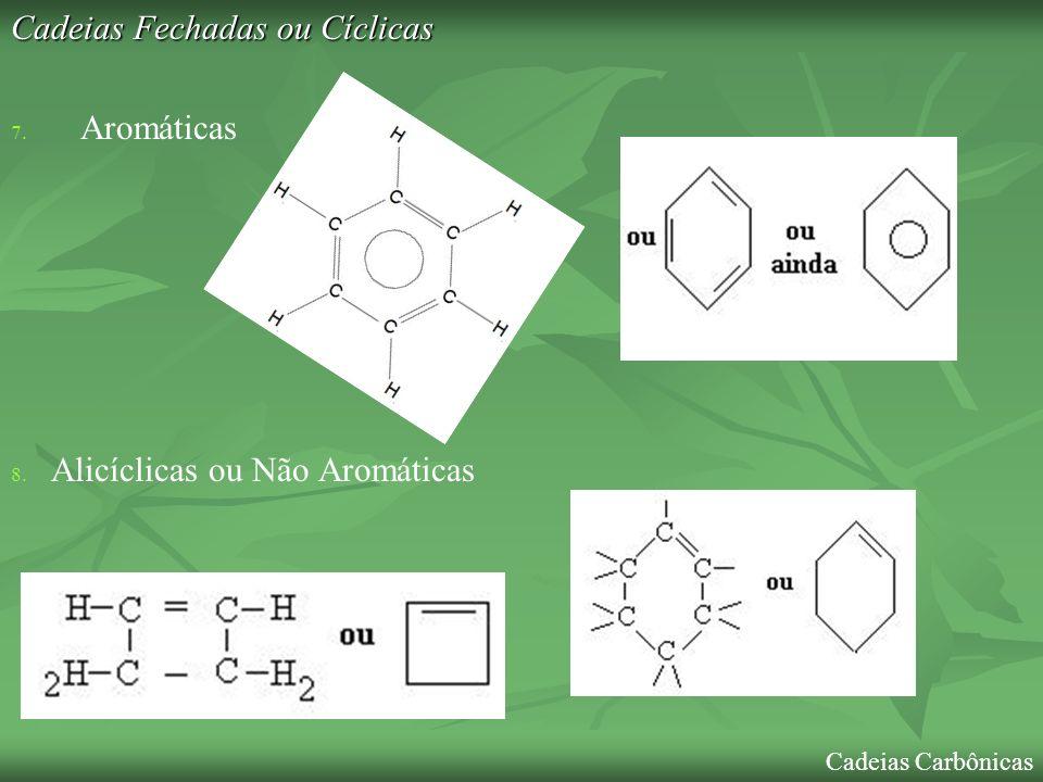 Cadeias Fechadas ou Cíclicas 9.Homogênea 9. Heterogênea 10.