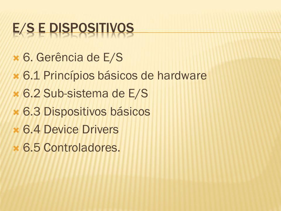 6. Gerência de E/S 6.1 Princípios básicos de hardware 6.2 Sub-sistema de E/S 6.3 Dispositivos básicos 6.4 Device Drivers 6.5 Controladores.