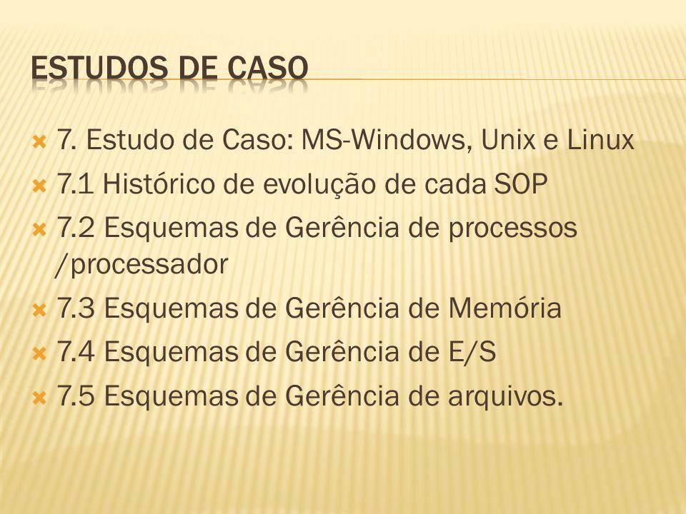 7. Estudo de Caso: MS-Windows, Unix e Linux 7.1 Histórico de evolução de cada SOP 7.2 Esquemas de Gerência de processos /processador 7.3 Esquemas de G