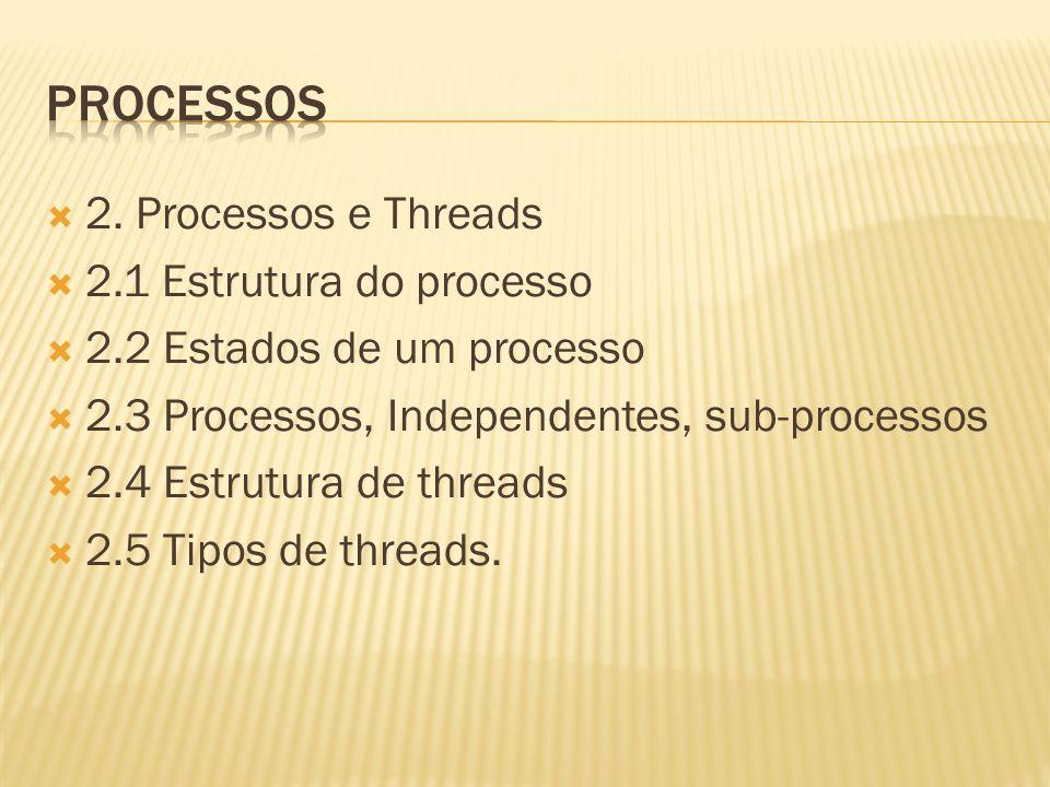 2. Processos e Threads 2.1 Estrutura do processo 2.2 Estados de um processo 2.3 Processos, Independentes, sub-processos 2.4 Estrutura de threads 2.5 T