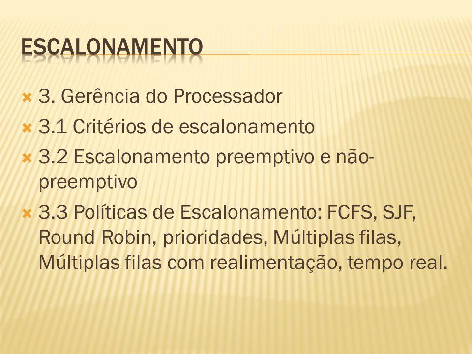 3. Gerência do Processador 3.1 Critérios de escalonamento 3.2 Escalonamento preemptivo e não- preemptivo 3.3 Políticas de Escalonamento: FCFS, SJF, R