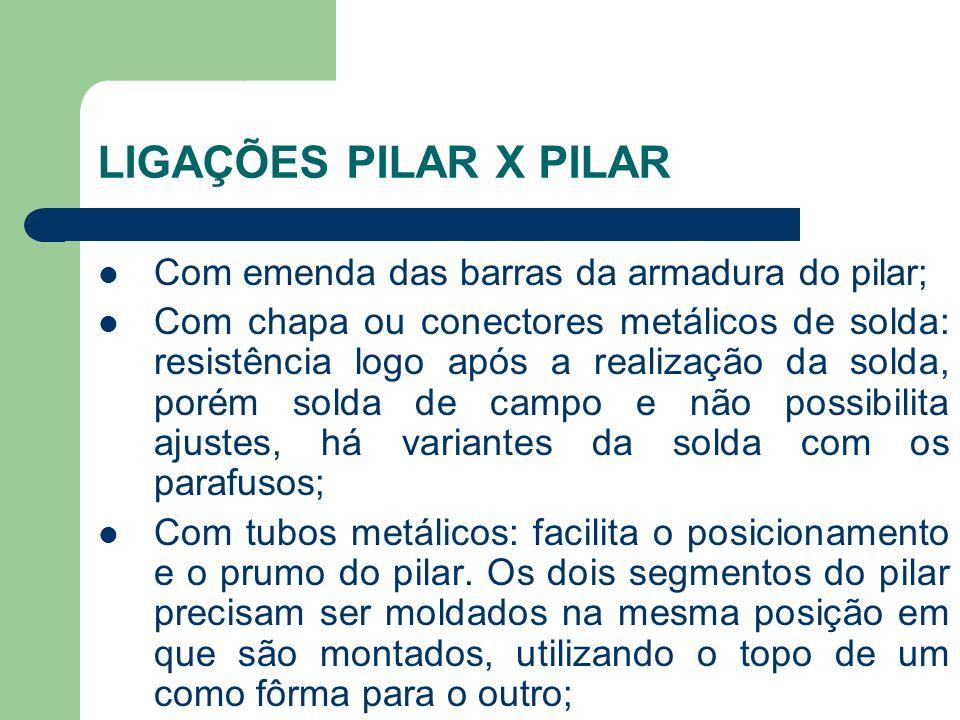 LIGAÇÕES PILAR X PILAR Com emenda das barras da armadura do pilar; Com chapa ou conectores metálicos de solda: resistência logo após a realização da s