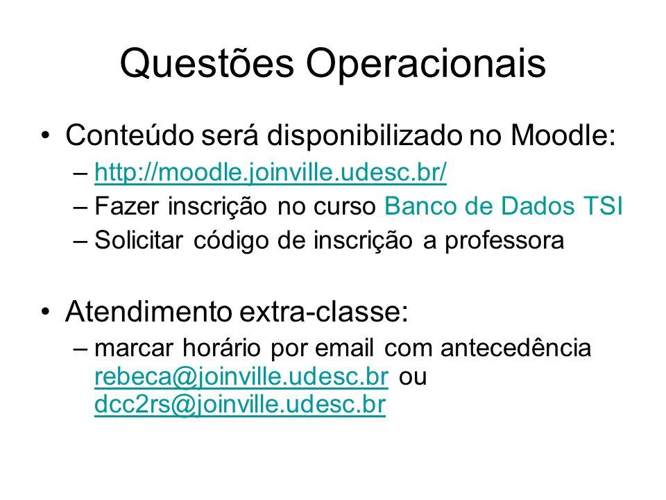 Questões Operacionais Conteúdo será disponibilizado no Moodle: –http://moodle.joinville.udesc.br/http://moodle.joinville.udesc.br/ –Fazer inscrição no