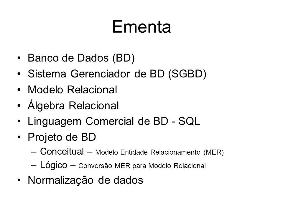 Ementa Banco de Dados (BD) Sistema Gerenciador de BD (SGBD) Modelo Relacional Álgebra Relacional Linguagem Comercial de BD - SQL Projeto de BD –Concei
