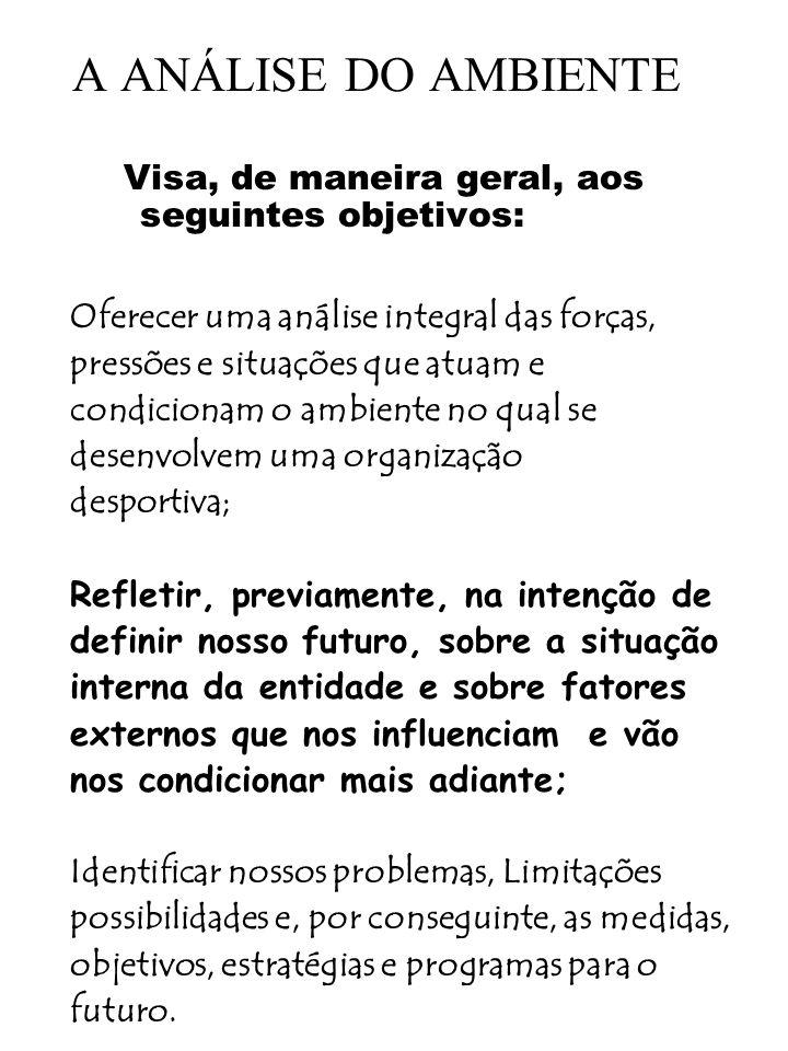 A ANÁLISE DO AMBIENTE Visa, de maneira geral, aos seguintes objetivos: Oferecer uma análise integral das forças, pressões e situações que atuam e cond