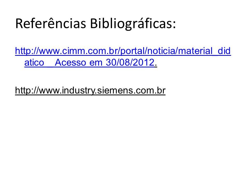 Referências Bibliográficas: http://www.cimm.com.br/portal/noticia/material_did atico _ Acesso em 30/08/2012http://www.cimm.com.br/portal/noticia/mater