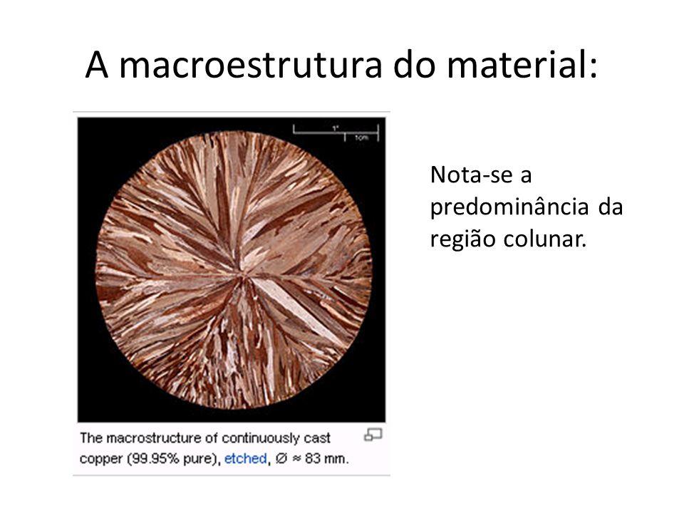 A macroestrutura do material: Nota-se a predominância da região colunar.