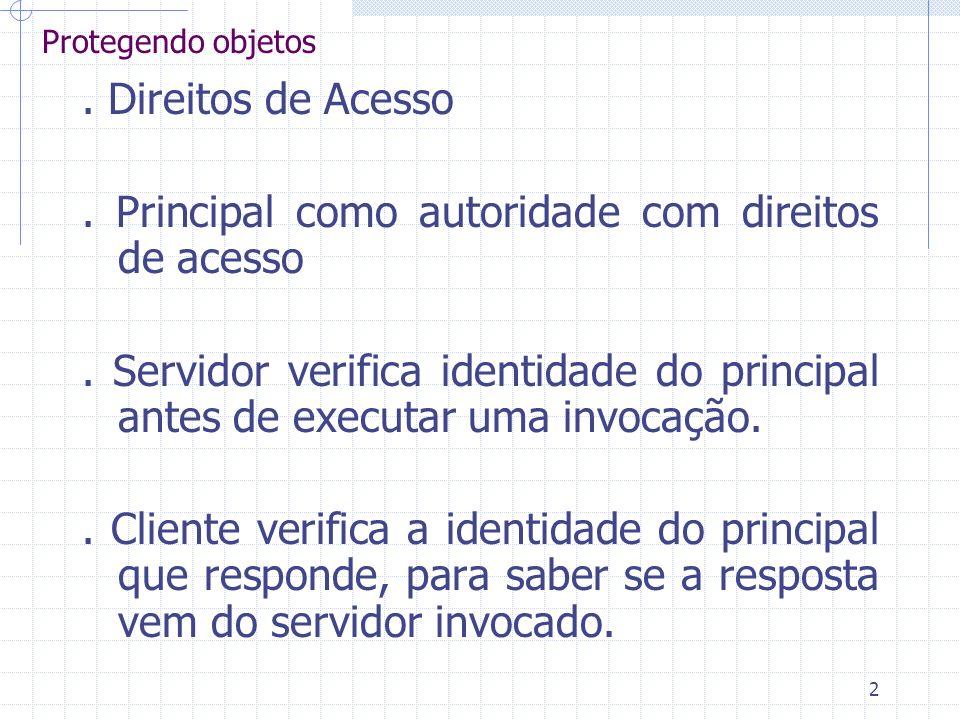 2 Protegendo objetos. Direitos de Acesso. Principal como autoridade com direitos de acesso. Servidor verifica identidade do principal antes de executa