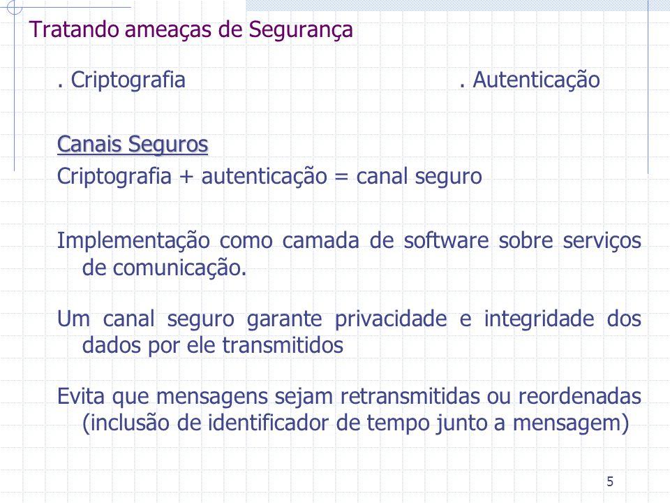 5 Tratando ameaças de Segurança. Criptografia. Autenticação Canais Seguros Criptografia + autenticação = canal seguro Implementação como camada de sof