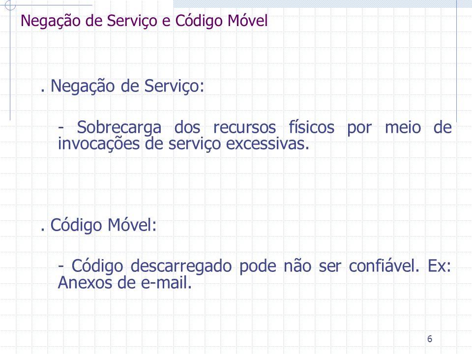 6 Negação de Serviço e Código Móvel. Negação de Serviço: - Sobrecarga dos recursos físicos por meio de invocações de serviço excessivas.. Código Móvel