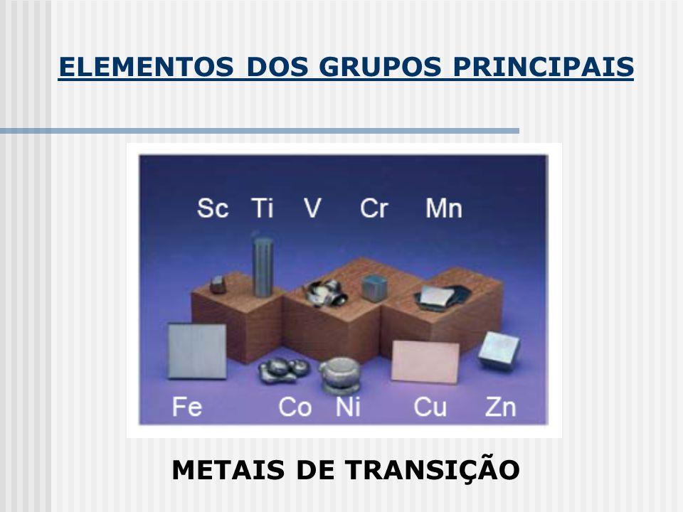 ELEMENTOS DOS GRUPOS PRINCIPAIS METAIS DE TRANSIÇÃO