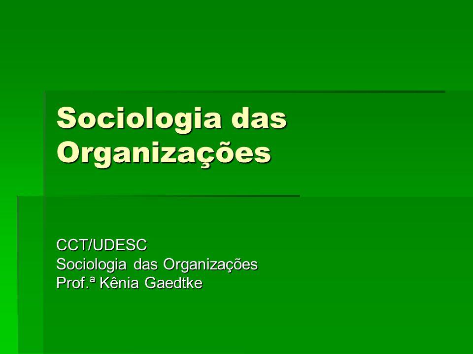 Sociologia das Organizações CCT/UDESC Prof.ª Kênia Gaedtke