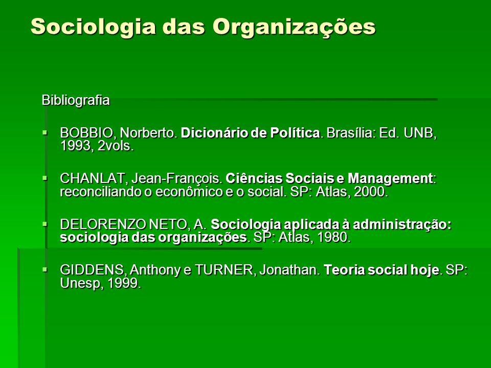 Sociologia das Organizações Bibliografia BOBBIO, Norberto. Dicionário de Política. Brasília: Ed. UNB, 1993, 2vols. BOBBIO, Norberto. Dicionário de Pol