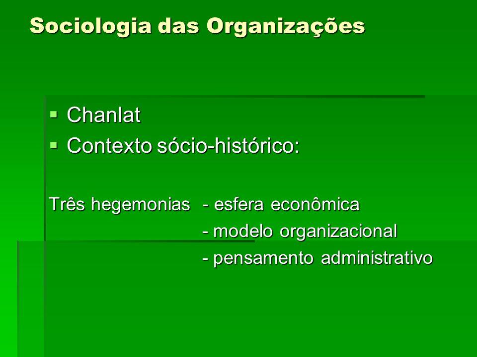 Sociologia das Organizações Chanlat Chanlat Contexto sócio-histórico: Contexto sócio-histórico: Três hegemonias - esfera econômica - modelo organizaci