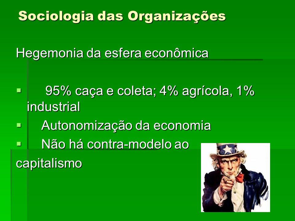 Sociologia das Organizações Hegemonia da esfera econômica 95% caça e coleta; 4% agrícola, 1% industrial 95% caça e coleta; 4% agrícola, 1% industrial