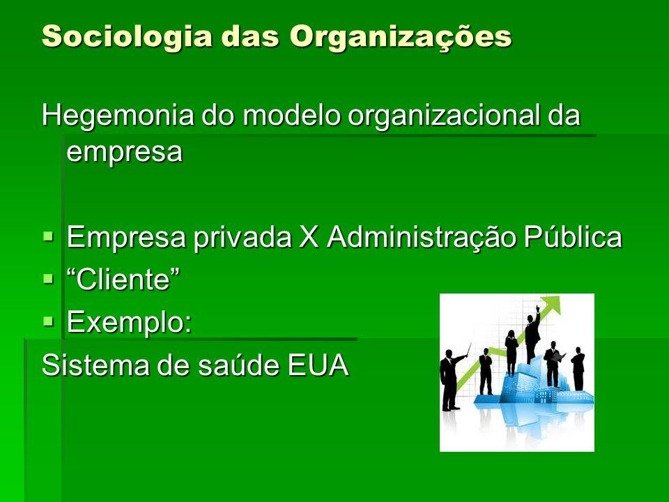 Sociologia das Organizações Hegemonia do modelo organizacional da empresa Empresa privada X Administração Pública Empresa privada X Administração Públ