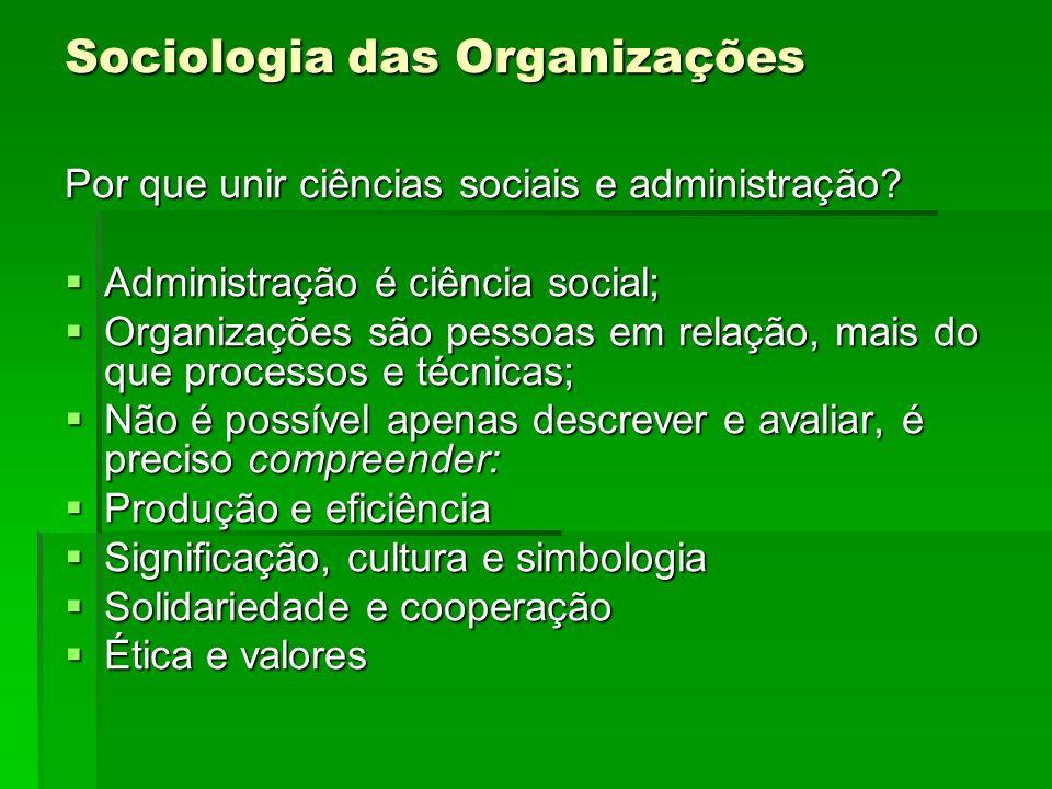 Sociologia das Organizações As ciências sociais promovem uma maior compreensão do aspecto humano das organizações; As ciências sociais promovem uma maior compreensão do aspecto humano das organizações; Diminuem a distância entre o formal e o real; Diminuem a distância entre o formal e o real; Oportuniza a reflexividade.