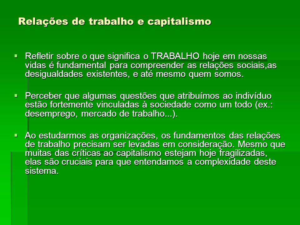 Relações de trabalho e capitalismo Refletir sobre o que significa o TRABALHO hoje em nossas vidas é fundamental para compreender as relações sociais,a