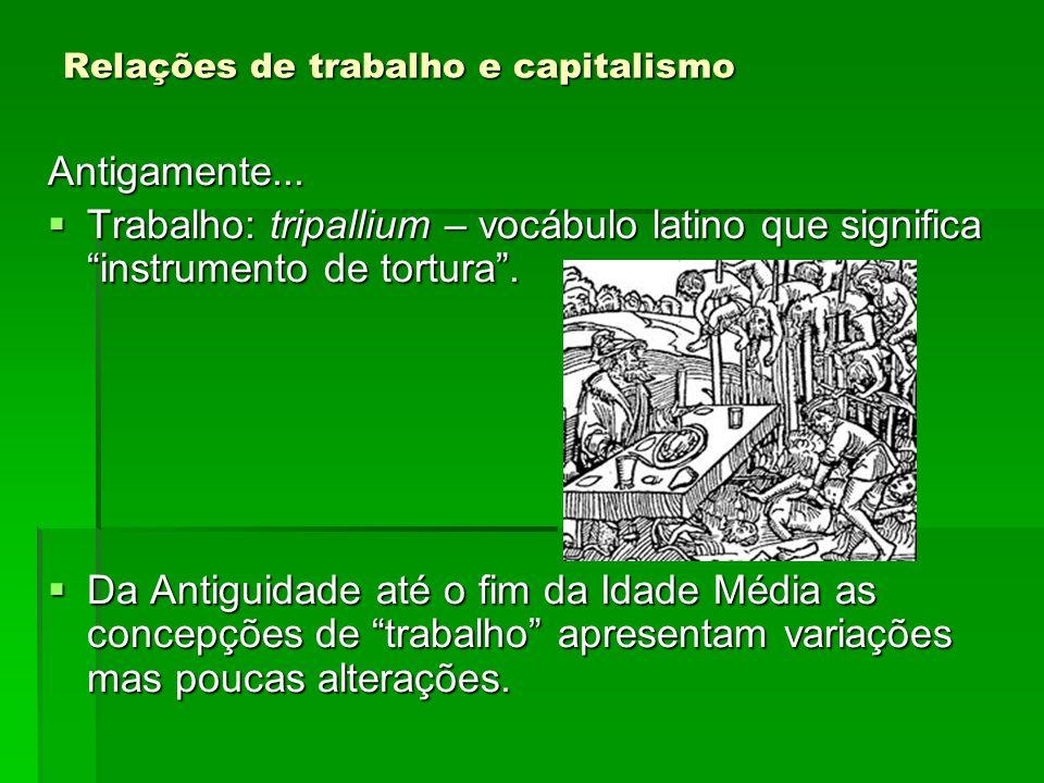 Relações de trabalho e capitalismo Antigamente... Trabalho: tripallium – vocábulo latino que significa instrumento de tortura. Trabalho: tripallium –