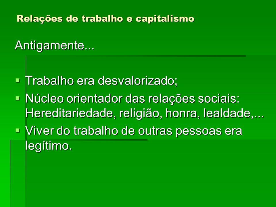 Relações de trabalho e capitalismo Antigamente... Trabalho era desvalorizado; Trabalho era desvalorizado; Núcleo orientador das relações sociais: Here