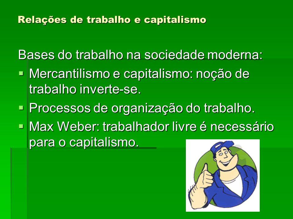 Relações de trabalho e capitalismo Bases do trabalho na sociedade moderna: Mercantilismo e capitalismo: noção de trabalho inverte-se. Mercantilismo e