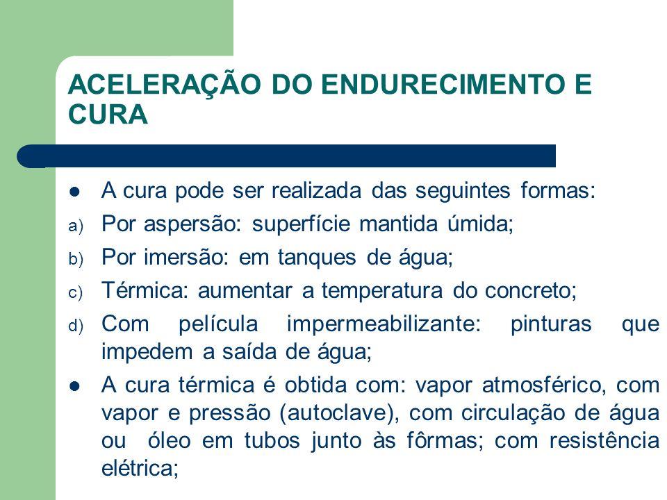 ACELERAÇÃO DO ENDURECIMENTO E CURA A cura pode ser realizada das seguintes formas: a) Por aspersão: superfície mantida úmida; b) Por imersão: em tanqu
