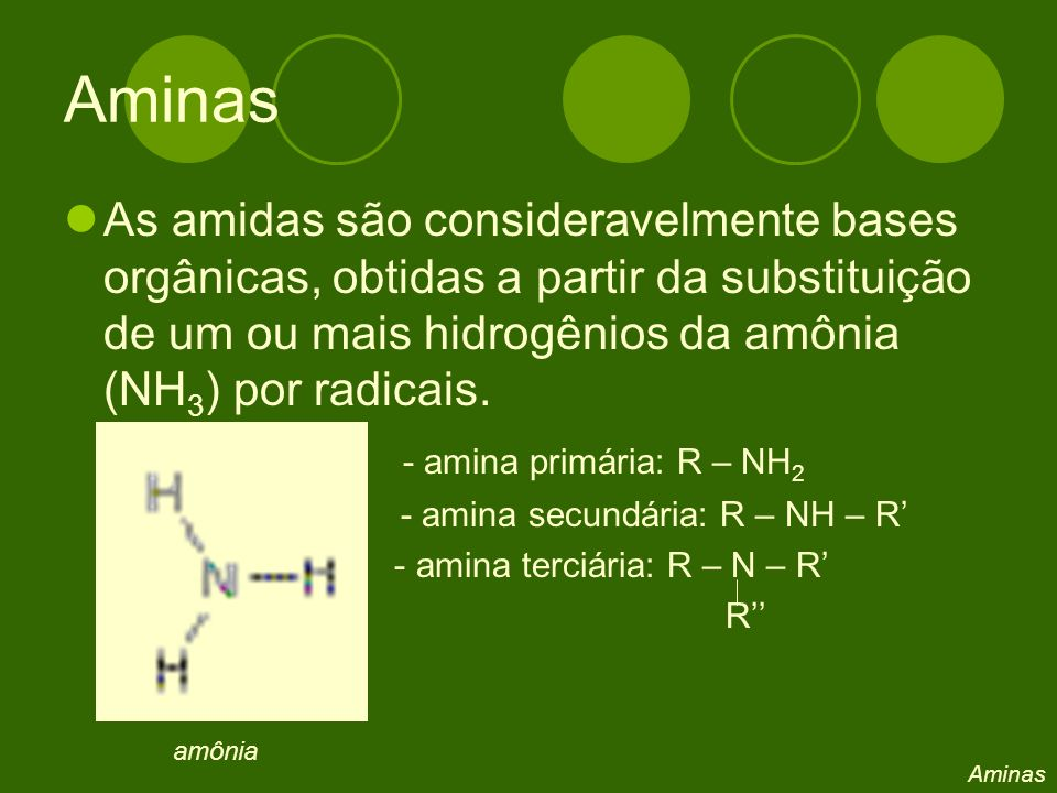 Aminas As amidas são consideravelmente bases orgânicas, obtidas a partir da substituição de um ou mais hidrogênios da amônia (NH 3 ) por radicais.