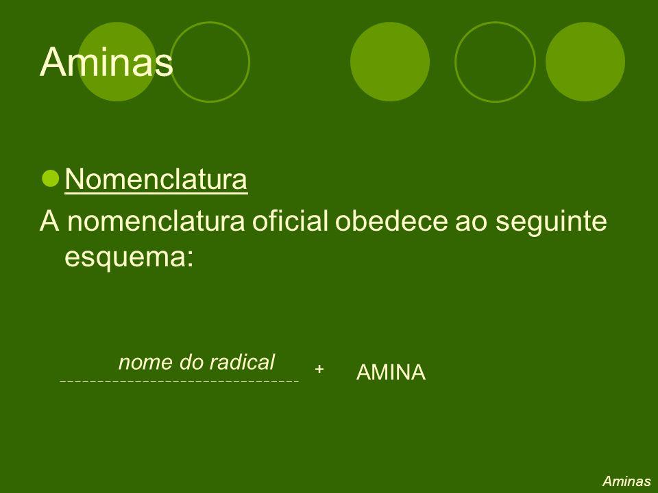 Nomenclatura A nomenclatura oficial obedece ao seguinte esquema: nome do radical + AMINA Aminas