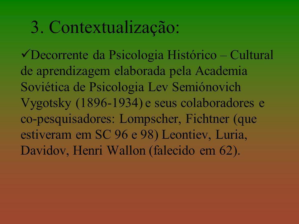 3. Contextualização: Decorrente da Psicologia Histórico – Cultural de aprendizagem elaborada pela Academia Soviética de Psicologia Lev Semiónovich Vyg