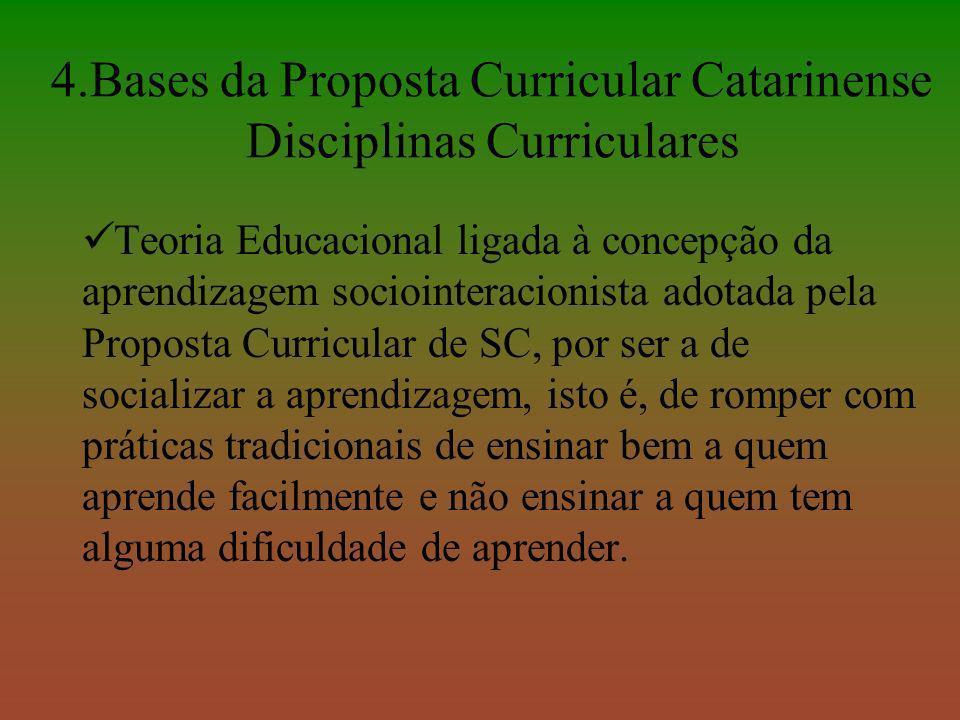 4.Bases da Proposta Curricular Catarinense Disciplinas Curriculares Teoria Educacional ligada à concepção da aprendizagem sociointeracionista adotada