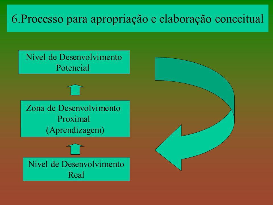 Nível de Desenvolvimento Potencial Zona de Desenvolvimento Proximal (Aprendizagem) Nível de Desenvolvimento Real 6.Processo para apropriação e elabora