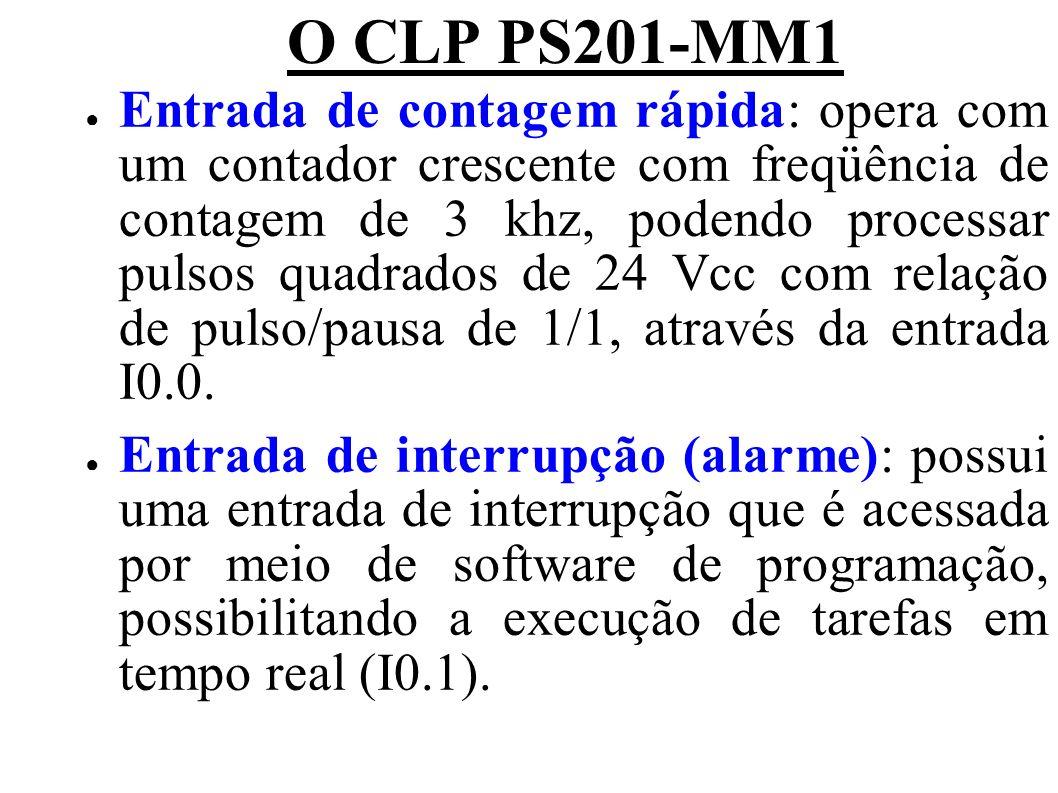 O CLP PS201-MM1 Entrada de contagem rápida: opera com um contador crescente com freqüência de contagem de 3 khz, podendo processar pulsos quadrados de