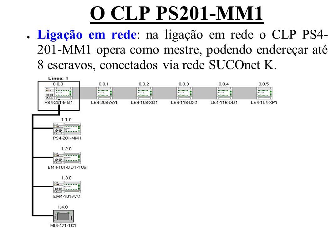 O CLP PS201-MM1 Ligação em rede: na ligação em rede o CLP PS4- 201-MM1 opera como mestre, podendo endereçar até 8 escravos, conectados via rede SUCOne