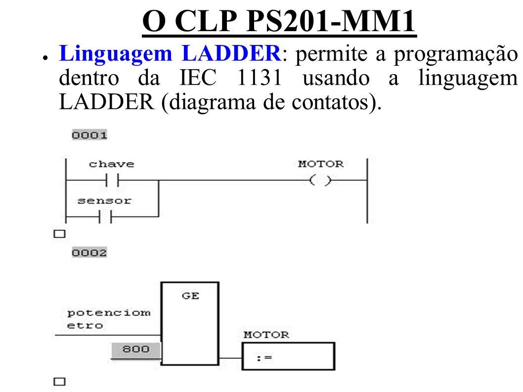 O CLP PS201-MM1 Linguagem LADDER: permite a programação dentro da IEC 1131 usando a linguagem LADDER (diagrama de contatos).