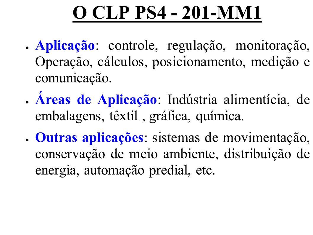 O CLP PS4 - 201-MM1 Aplicação: controle, regulação, monitoração, Operação, cálculos, posicionamento, medição e comunicação. Áreas de Aplicação: Indúst